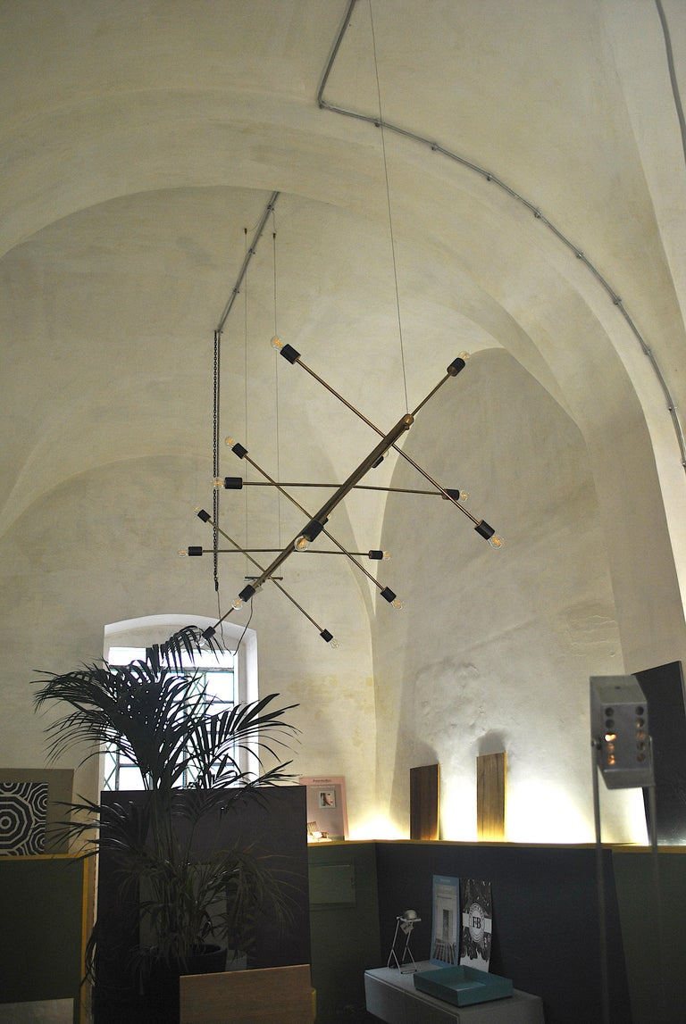 The Tube, Italian Brass Chandelier In New Condition In bari, IT
