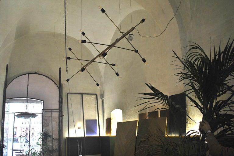 Contemporary The Tube, Italian Brass Chandelier