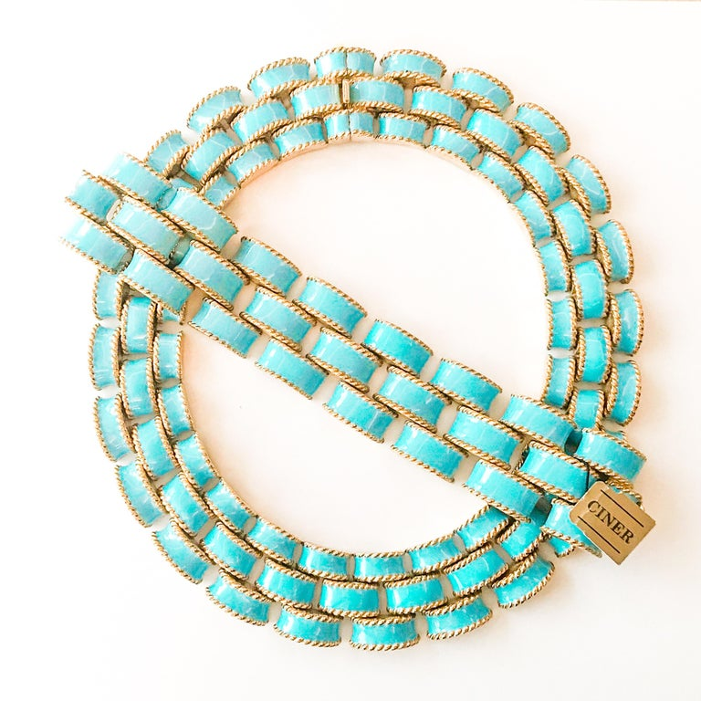 Contemporary CINER Turquoise Enamel Gold Brick Necklace For Sale