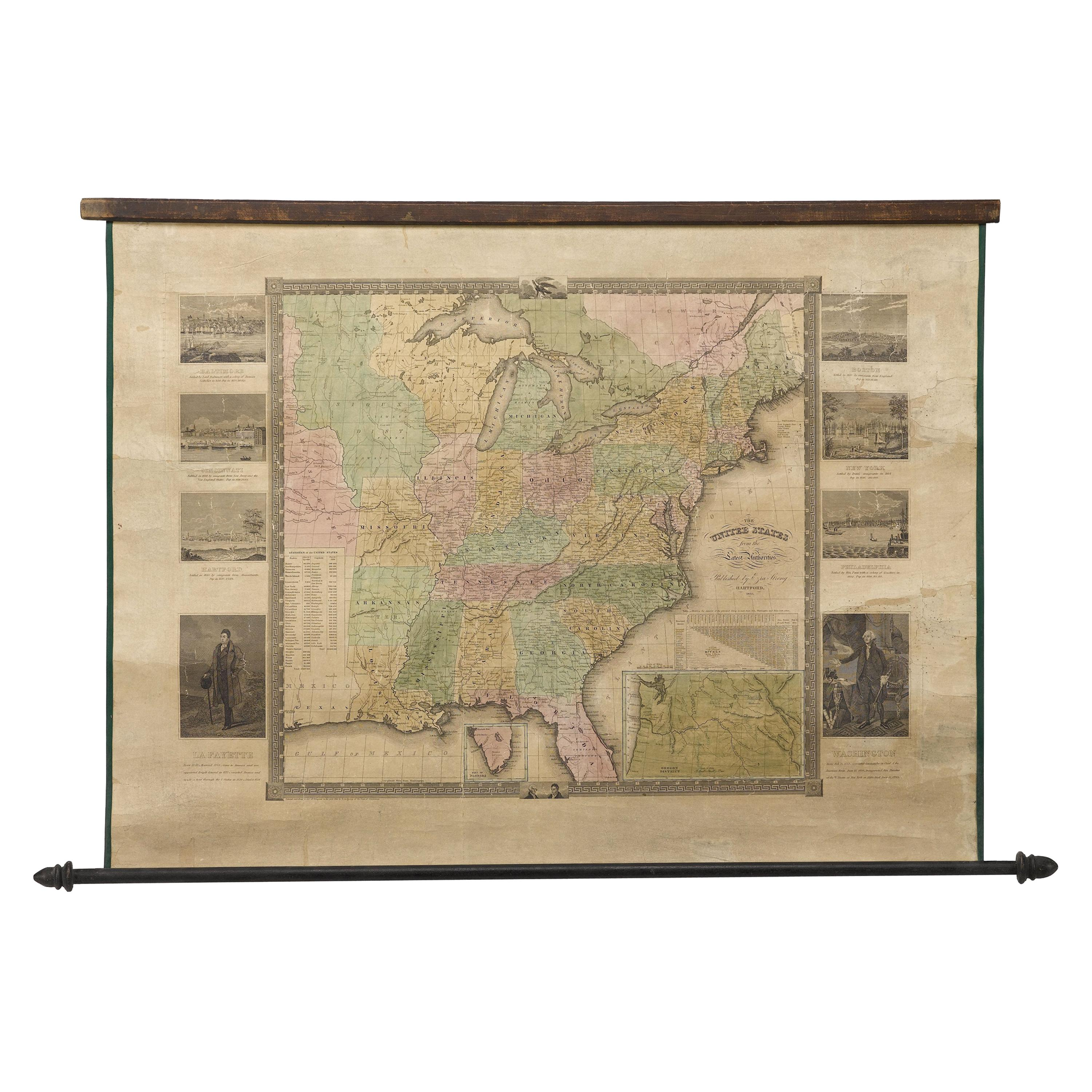 """""""The United States from the Latest Authorities"""" Antique Wall Map, 1835"""