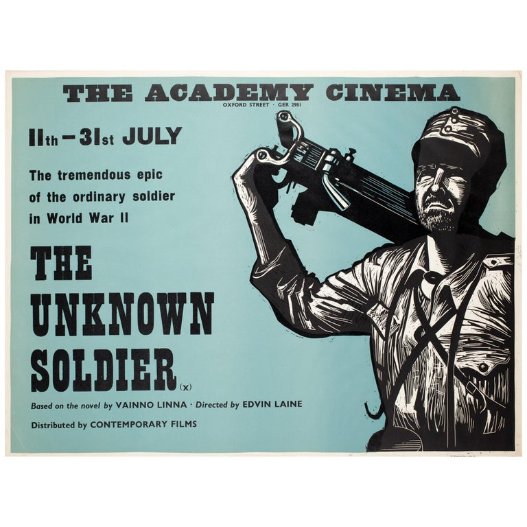 """""""The Unknown Soldier"""", 1970s Academy Cinema UK Quad Film Poster, Strausfeld For Sale"""