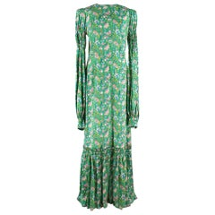 The Vampire's Wife Shirred floral-print silk-satin maxi dress US8