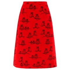 """THE VESTED GENTRESS c.1970's Red Black Owl Signature """"VG"""" Print A-Line Skirt"""