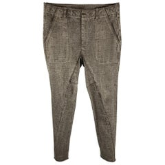 THE VIRIDI-ANNE Size 32 Charcoal Washed Cotton Asymmetrical Casual Pants