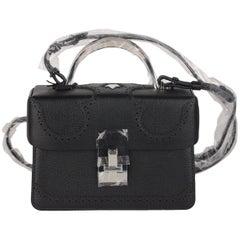 The Volon Black Leather Data Alice Small Crossbody Shoulder Box Bag Handbag