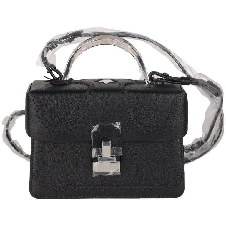 2c01f67a8372 The Volon Black Leather Data Alice Small Crossbody Shoulder Box Bag Handbag  For Sale