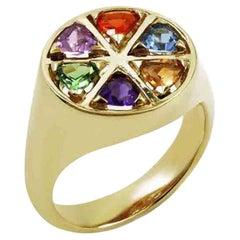 The Wedge Multi Gemstone 9 Karat Yellow Gold Ring