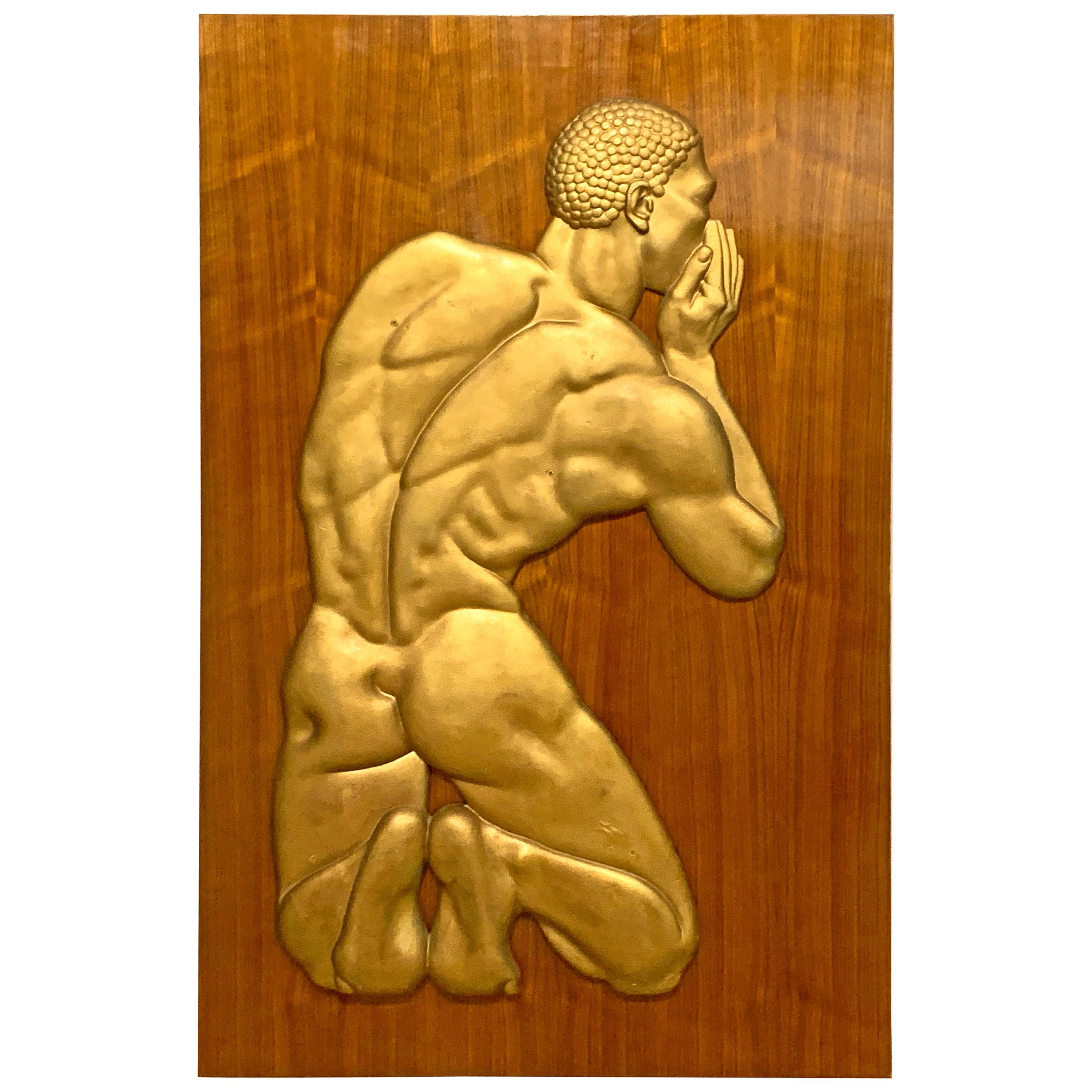 """""""The Whisperer,"""" Striking Art Deco Nude Black Male Sculptural Relief"""