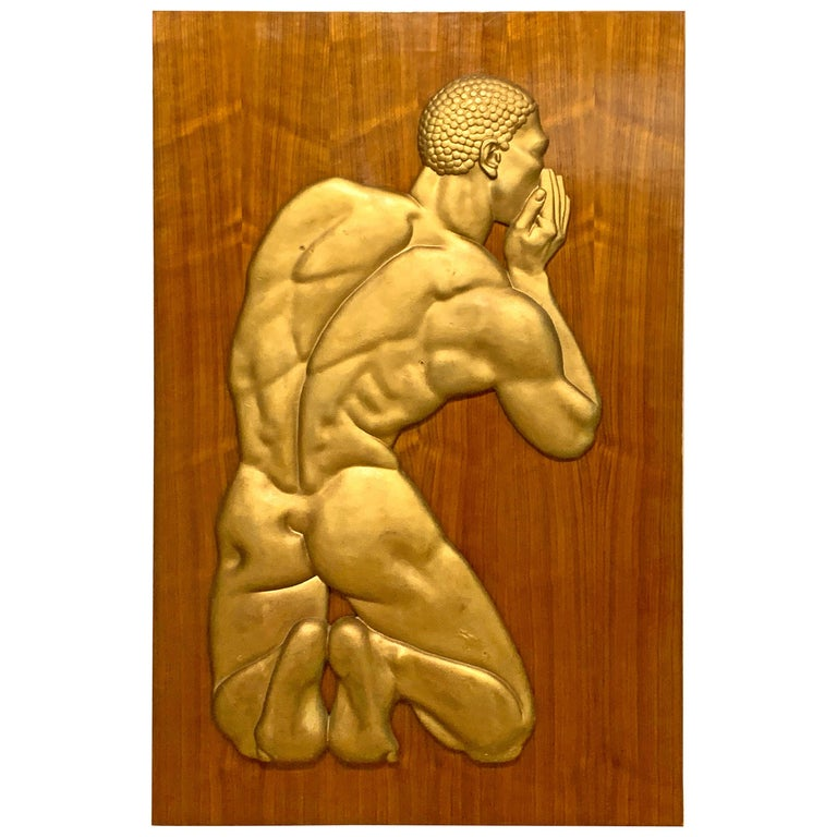 """""""The Whisperer,"""" Striking Art Deco Nude Black Male Sculptural Relief For Sale"""