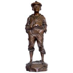 """The Whistler"" Bronze Sculpture of Young Boy, circa 1908 by Victor Szeczeblewski"