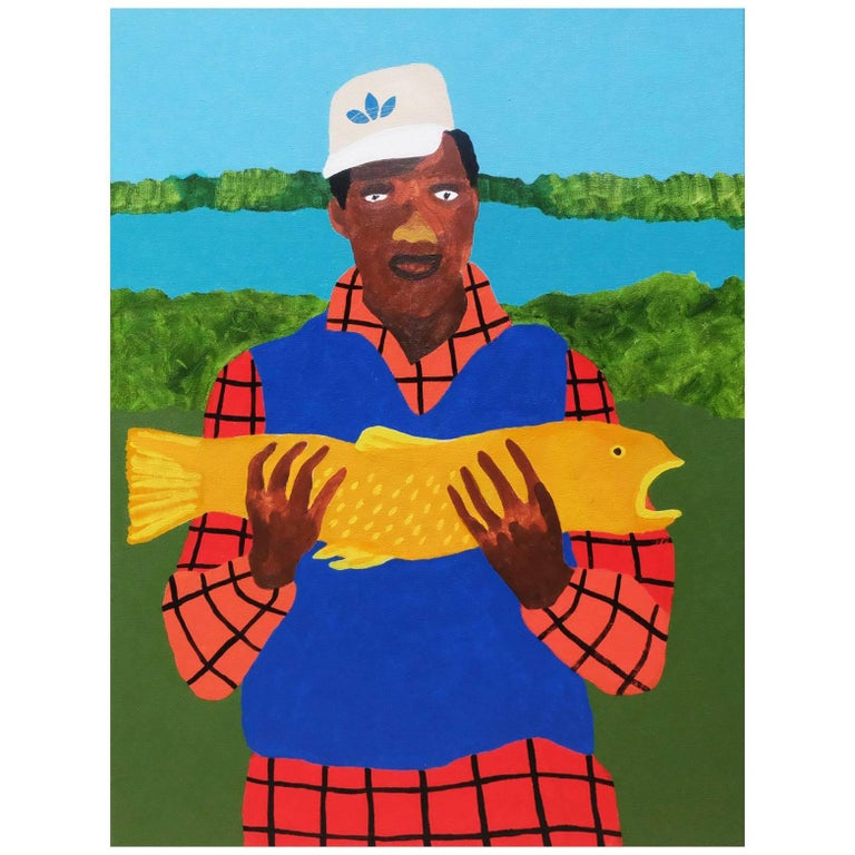 'The Whopper' Portrait Painting by Alan Fears Pop Art Fishing