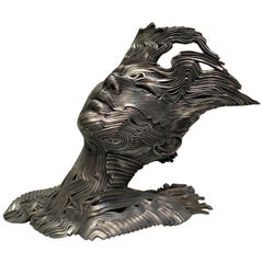 """""""The Wind"""" Stainless Steel Limited Edition Tabletop Bust Sculpture by Gil Bruvel"""