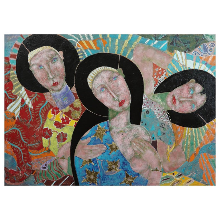 The Wisdom in Women, Contemporary Mixed-Media Painting For Sale