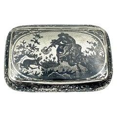 The Wolf Hunt, Antique Silver and Niello Snuff Box, 19th Century