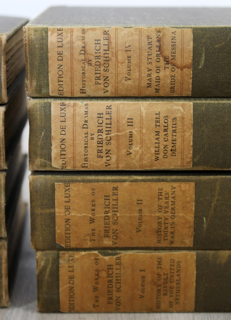 For your consideration is this set of 8 books, the Works of Friedrich Schiller, numbered 163/500. In very good antique condition. The dimensions are 6