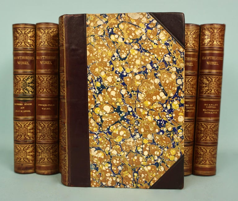 The illustrated works of famous American novelist Nathaniel Hawthorne (1804-1864 in 10 volumes, including The Scarlet Letter, House of Seven Gables, English Notes and The Snow Image. Bound in brown leather with marbleized boards and end papers and