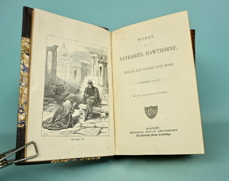American Works of Hawthorne in 10 Illustrated Gilt-Tooled Leather Bound Volumes  For Sale