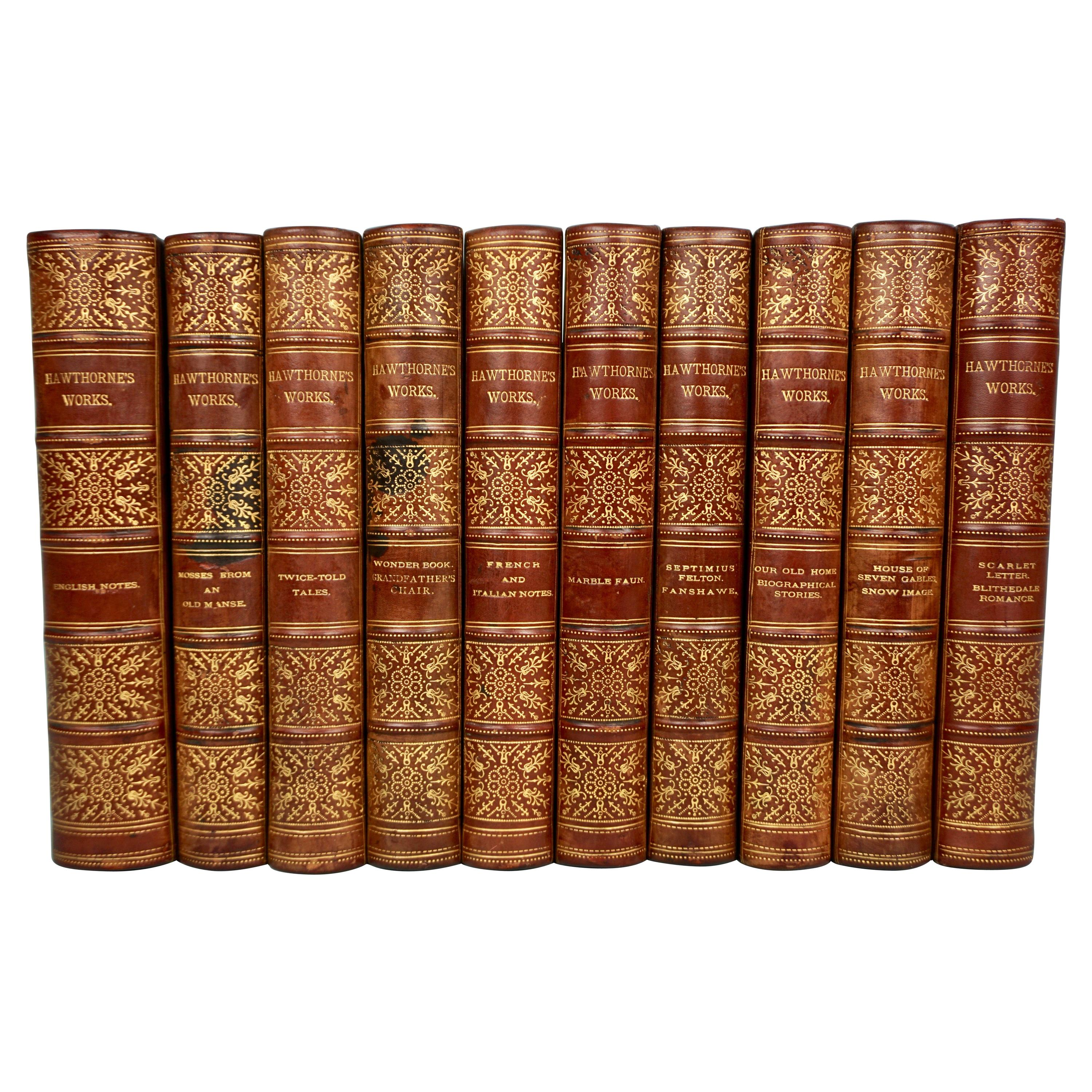 Works of Hawthorne in 10 Illustrated Gilt-Tooled Leather Bound Volumes