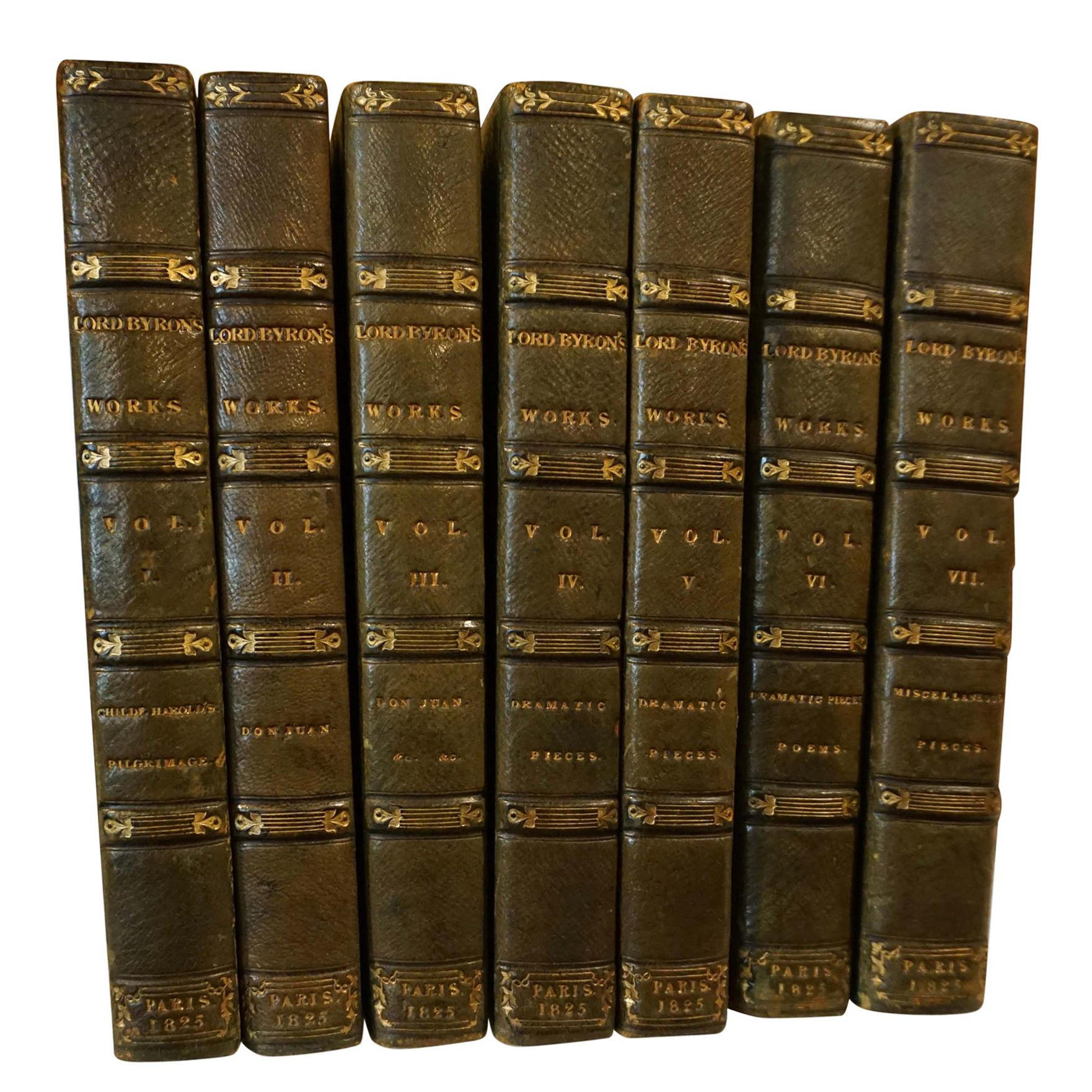 The Works of Lord Byron Bound in Green Morocco Leather with Gilt Tooling