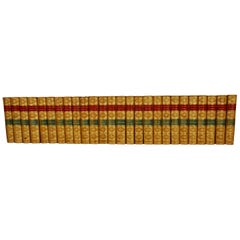 The Works of Lord Lever in 26 Leatherbound Volumes with Marbleized Endpapers
