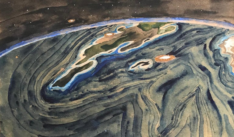 The world in silent stillness lay, Crowe, 1974-1975. Vintage watercolor of the world in original blue mat and metal frame. Signed on reverse