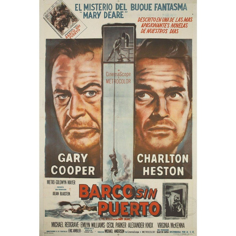 Original 1959 Argentine poster by Reynold Brown for the film The Wreck of the Mary Deare directed by Michael Anderson with Gary Cooper / Charlton Heston / Michael Redgrave / Emlyn Williams. Very good condition, folded. Many original posters were