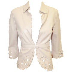 The Wrights Beige Laser Cut Embroidered Jacket w/ Scalloped Edges Size 6 US