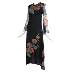 Thea Porter Couture Black Chiffon Gown w/Floral Print