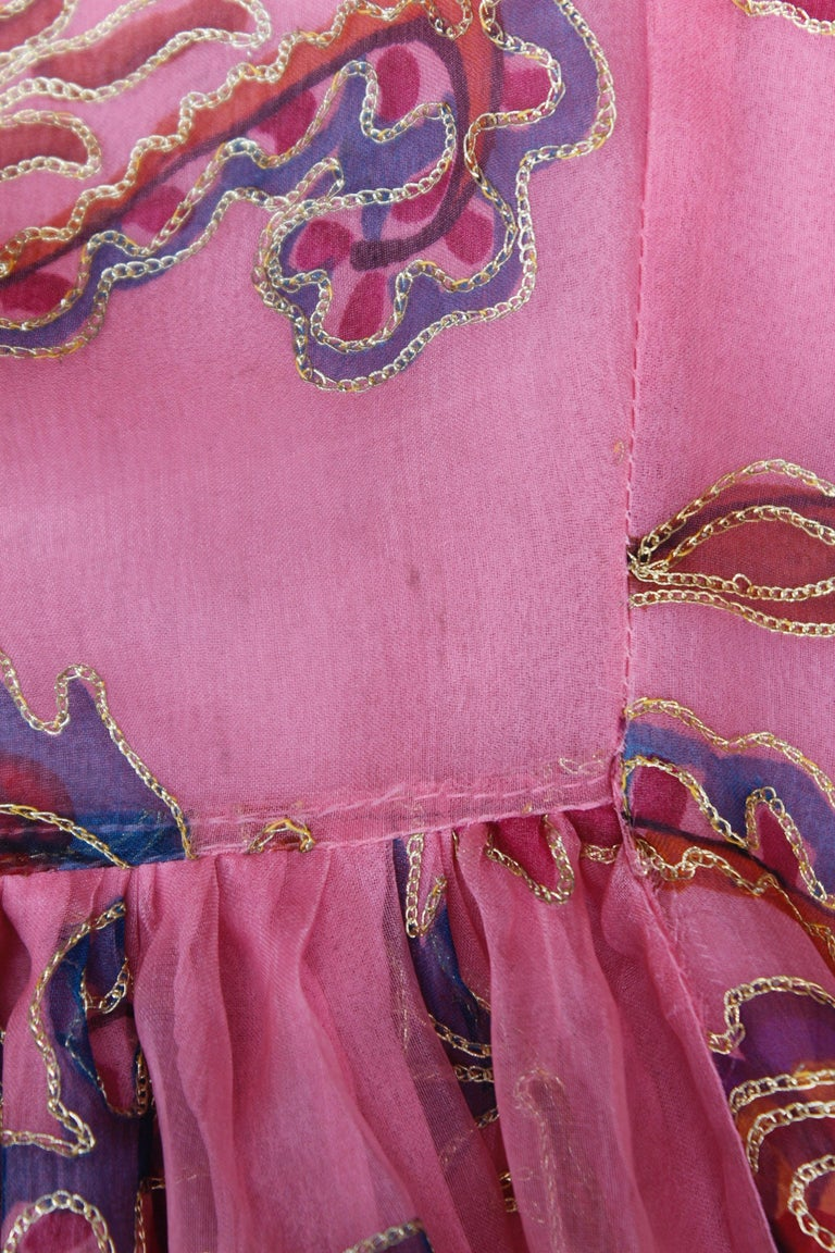 Thea Porter Couture gorgeous pink organza dress with floral print, 1970's For Sale 5