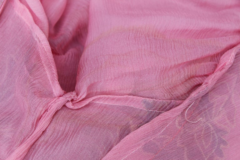 Thea Porter Couture gorgeous pink organza dress with floral print, 1970's For Sale 6
