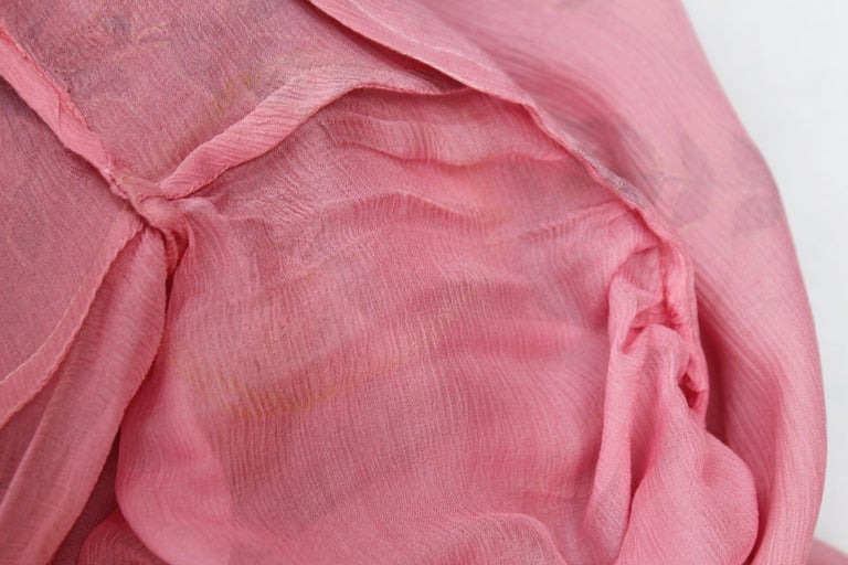 Thea Porter Couture gorgeous pink organza dress with floral print, 1970's For Sale 7