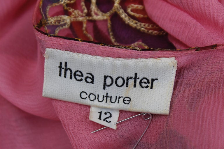 Thea Porter Couture gorgeous pink organza dress with floral print, 1970's For Sale 8