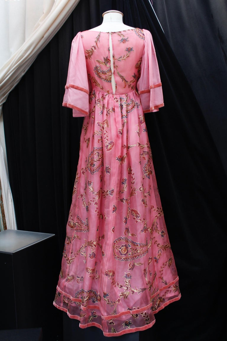 Pink Thea Porter Couture gorgeous pink organza dress with floral print, 1970's For Sale