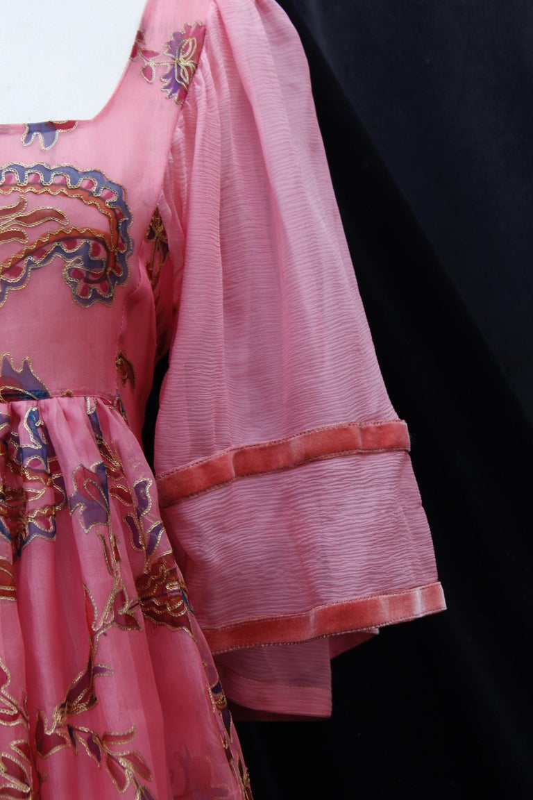 Women's or Men's Thea Porter Couture gorgeous pink organza dress with floral print, 1970's For Sale