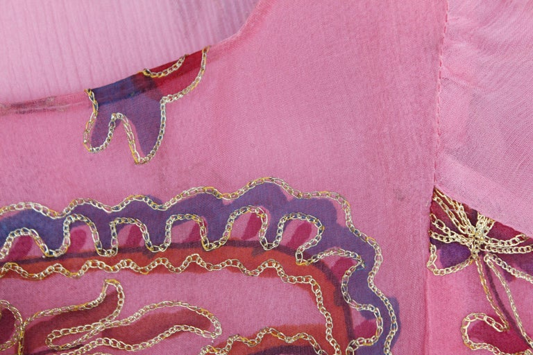 Thea Porter Couture gorgeous pink organza dress with floral print, 1970's For Sale 4