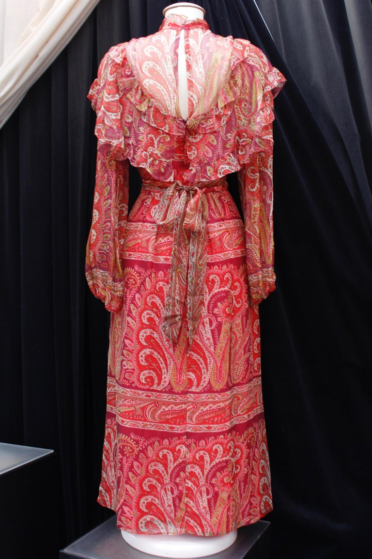 Red Thea Porter Couture gorgeous red bohemian style dress, 1970's For Sale