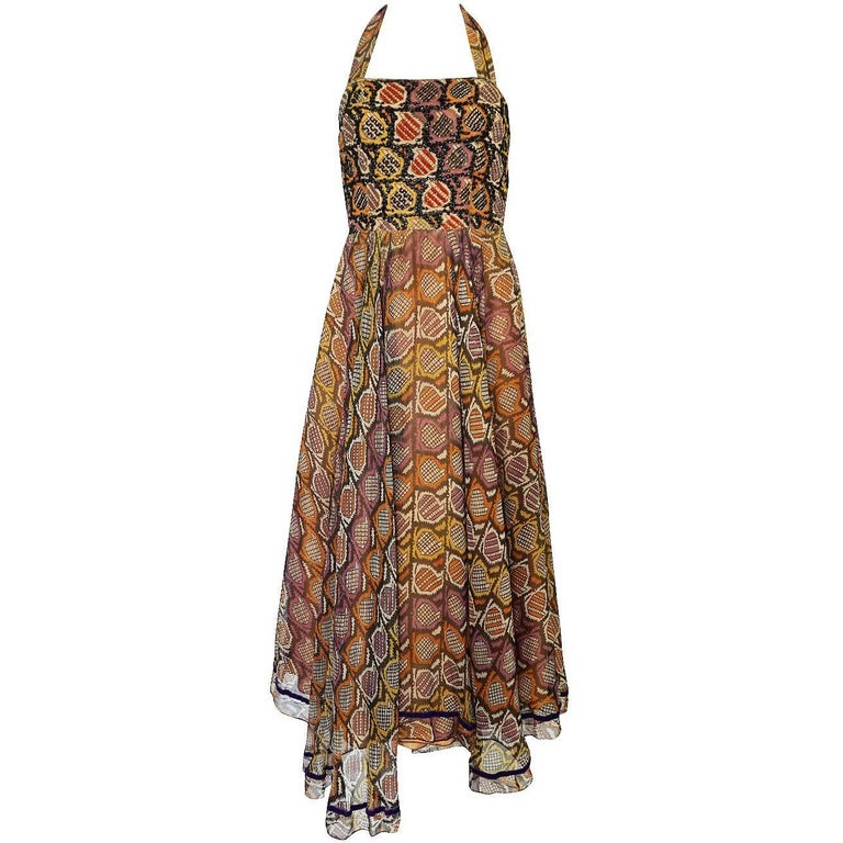 Thea Porter Museum Exhibited Couture Dress in Silk and Beads, 1970
