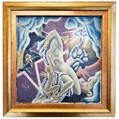 """Theatrical Scene,"" Art Deco Painting with Tragedy, Comedy in Celestial Setting"