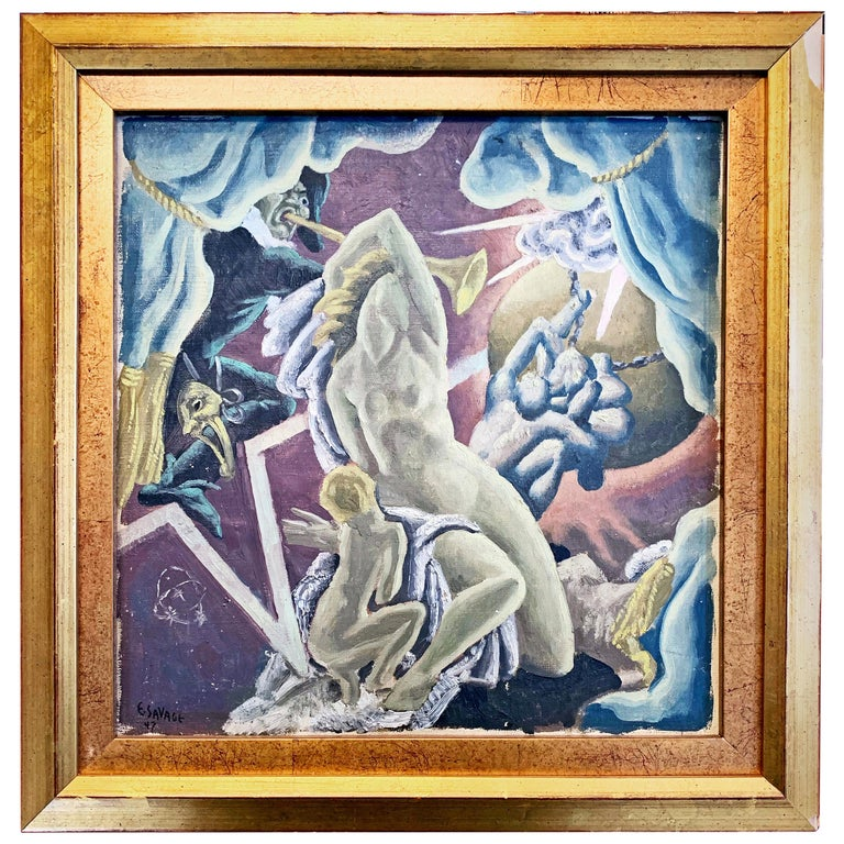 """Theatrical Scene,"" Art Deco Painting with Tragedy, Comedy in Celestial Setting For Sale"