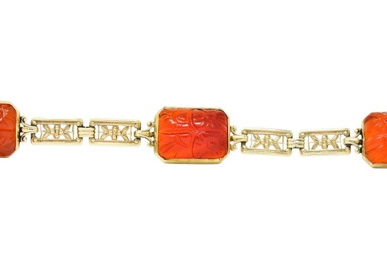 Theberath & Co. Art Nouveau Carnelian 14 Karat Gold Bracelet In Excellent Condition For Sale In Philadelphia, PA