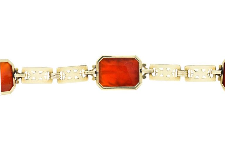 Women's or Men's Theberath & Co. Art Nouveau Carnelian 14 Karat Gold Bracelet For Sale