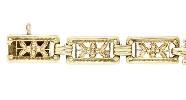 Theberath & Co. Art Nouveau Carnelian 14 Karat Gold Bracelet For Sale 1