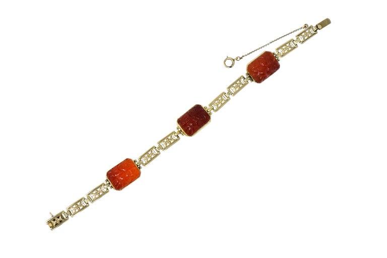 Theberath & Co. Art Nouveau Carnelian 14 Karat Gold Bracelet For Sale 2