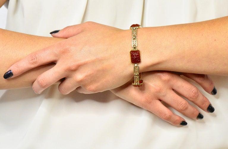 Theberath & Co. Art Nouveau Carnelian 14 Karat Gold Bracelet For Sale 3