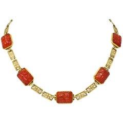 Theberath & Co. Art Nouveau Carnelian 14 Karat Gold Necklace