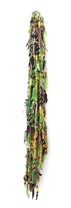 Large fiber wall hanging: 'Politics of Hair Camo Tricolor Fringe'