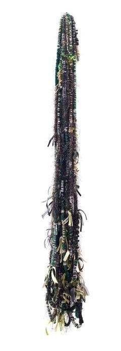Large fiber wall hanging: 'Politics of Hair Camo Green'