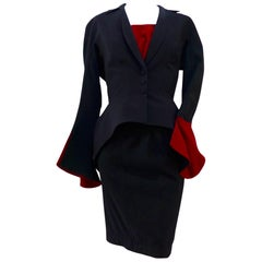 THEIRRY MUGLER Black and Red Velvet Skirt Suit with Tank Size 40