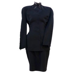 THIERRY MUGLER Black Skirt Suit With Lace Details Size 40