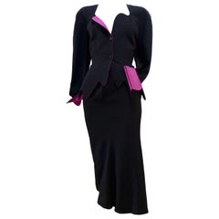 THIERRY MUGLER Black with Pink Lining and Cuff Skirt Suit Size 40
